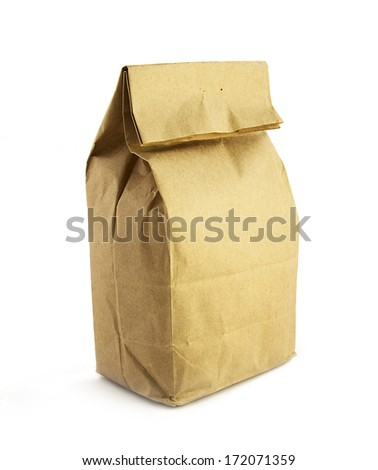 Paper bag for food - stock photo