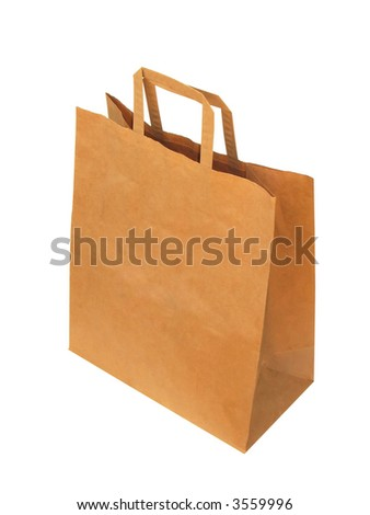 Paper-bag, isolated on the white background.