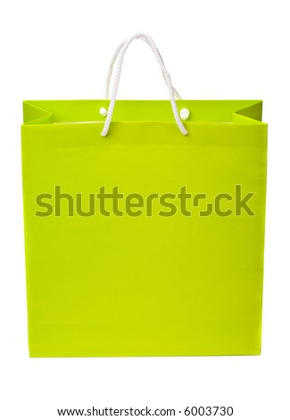 1 paper bag isolated on the white background - stock photo