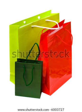 3 paper bags isolated on the white background - stock photo