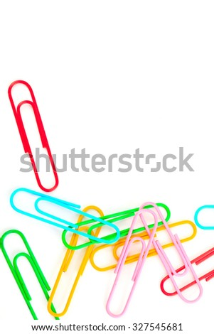 paper clips on a white background, school concept