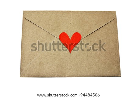 paper envelope with white heart on white background - stock photo