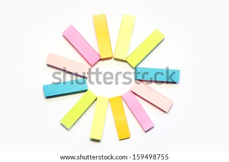 paper stick on white background six color block of post-it notes with clipping path - stock photo