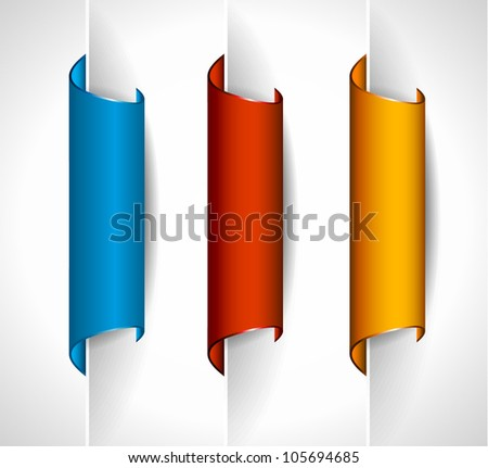 3 paper stickers tag for feedback button with high contrast colours, real paper effect and transparent shadows - stock photo