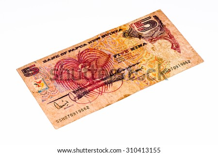 5 Papua New Guinean kina bank note. Papua New Guinean kina is the national currency