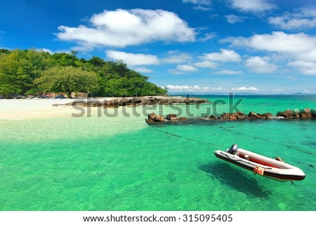 Paradise beach in Koh maiton island , phuket ,Thailand  - stock photo