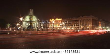Paris at night. Place de la Concorde. - stock photo