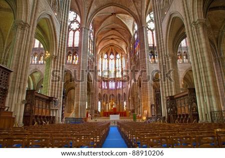 Paris - interior of Saint Denis cathedral - stock photo