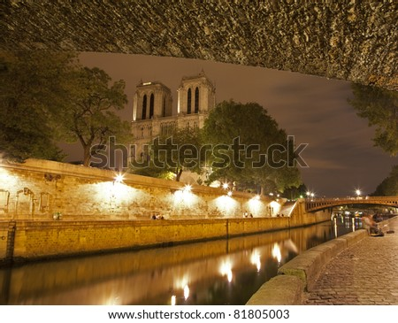 Paris - Notre Dame cathedral in night - stock photo