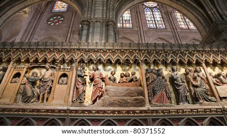 Paris - reliefs from Jesus life  - Notre-Dame cathedral