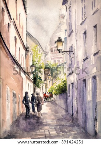 Paris street.Picture created with watercolors. - stock photo
