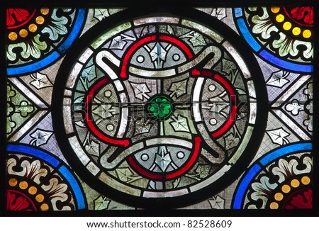 Paris - windowpane from Saint Denis gothic church - stock photo