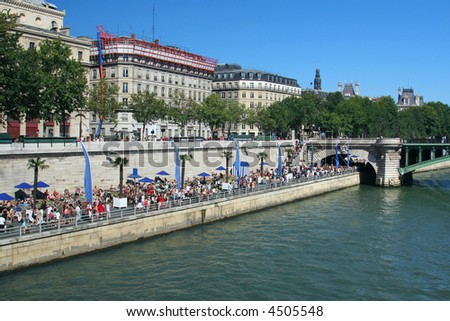 """""""Parisian beach"""" on banks of the River Seine in Paris, France - stock photo"""