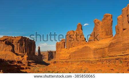 'Park Avenue' Rock Formation, Arches National Park - Utah - stock photo