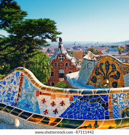 Park Guell was commissioned by Eusebi Guell and designed by Antonio Gaudi. - stock photo