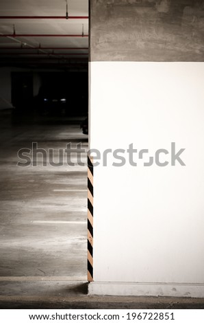 parking lot number wall,parking area - stock photo
