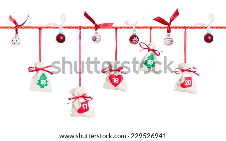 16 - 20, part of Advent calendar isolated on white background