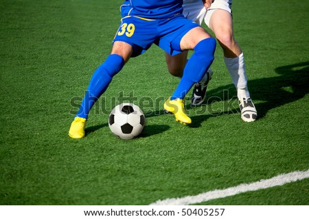 part of legs-soccer or football theme - stock photo