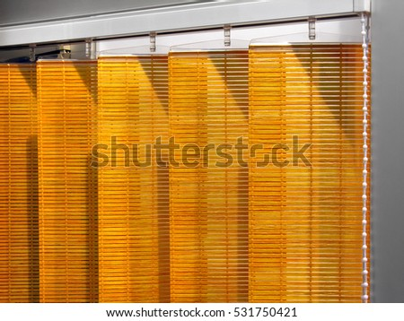 part of wooden Venetian blinds system