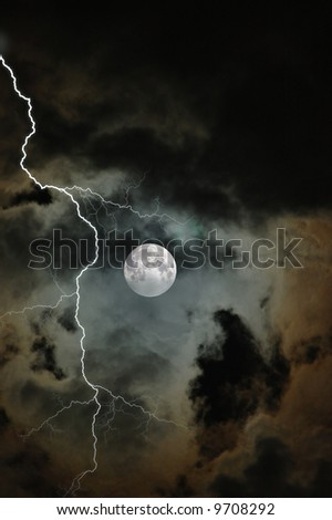 Partial cloud covered Moon on a stormy night in Florida - stock photo