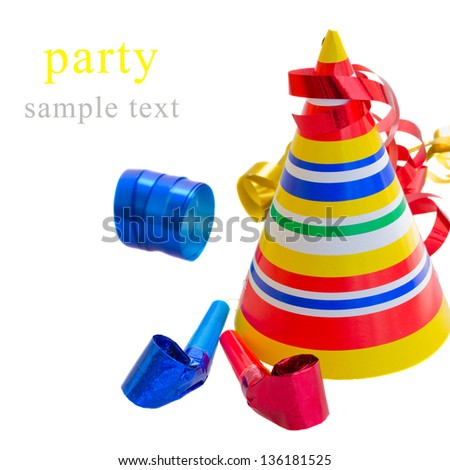 Party Decoration  - hat,  whistle and curling paper isolated on white background - stock photo