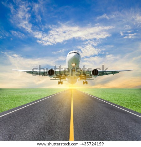 Passenger airplane take off from runways against beautiful  sky, concept aircraft transport and traveling business industry - stock photo