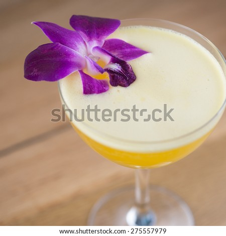 Passionfruit, lemon, orange blossom, sugarcane, casamigos silver tequila and champagne vollereaux  - stock photo