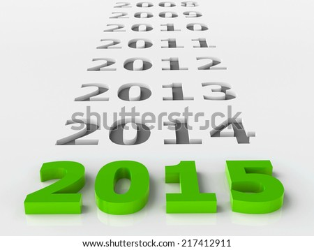 2015 past represents the new year 2015, three-dimensional rendering - stock photo