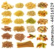 Pasta collection isolated on white background - stock photo