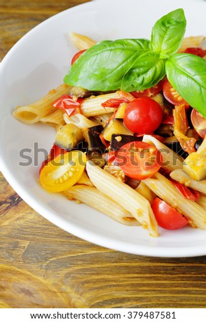 pasta with roasted vegetables, food