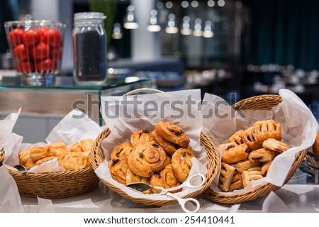 Pastry buffet  for  breakfast  - stock photo