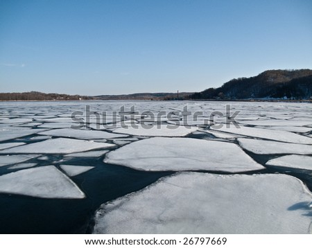 Patches of ice on lake