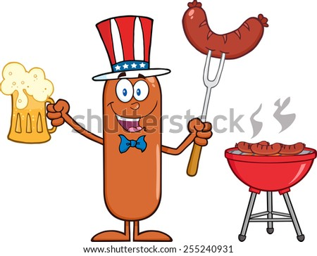 Patriotic Sausage Cartoon Character Holding A Beer And Weenie Next To BBQ. Raster Illustration Isolated On White - stock photo