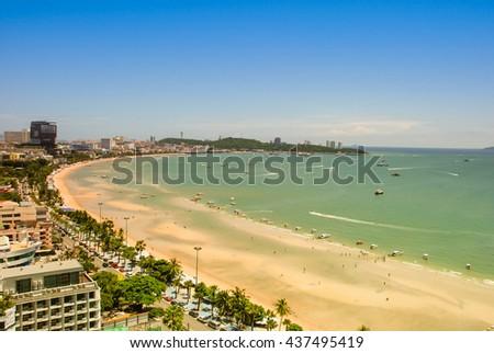 Pattaya beach and city bird eye view.Pattaya beach and city bird eye view, Chonburi, Thailand. - stock photo