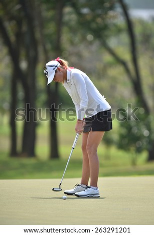 PATTAYA, THAILAND: Paula Creamer of USA plays a shot during day one of the Honda LPGA Thailand 2015 at Siam Country Club, Pattaya on March 1,2015 in Thailand. - stock photo