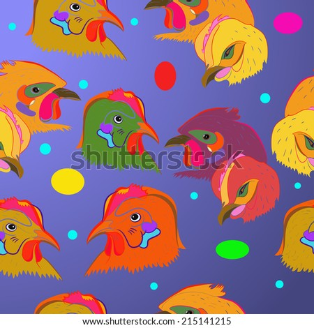 Pattern of colored chicken heads on a gradient  background and colored ellipses.Handmade. Raster version.