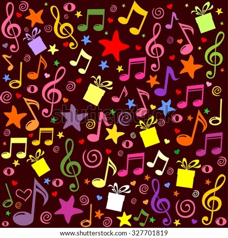 pattern wallpaper of musical notes, gift box, stars. Illustration