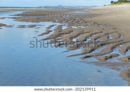 Patterns in the sand on a beach, Tauranga, New Zealand                                - stock photo