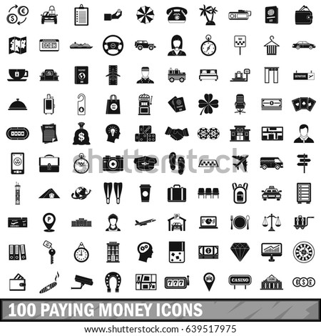 100 paying money icons set in simple style for any design  illustration