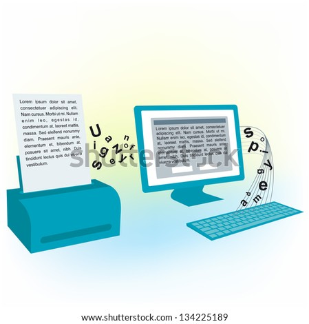 pc computer monitor keyboard  printed text blank (Raster copy of vector) - stock photo