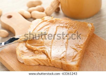 peanut butter  sandwich - stock photo