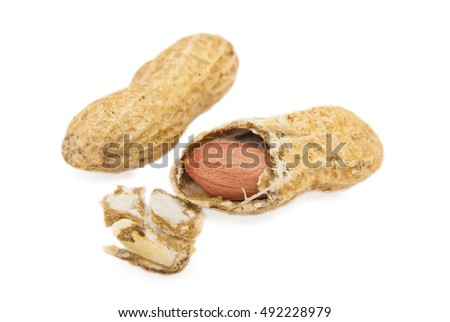 peanut with cracked shell  on white background