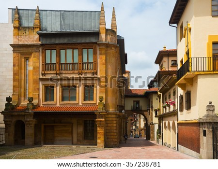 Pedestrian  street with arch at old part of Oviedo. Spain - stock photo