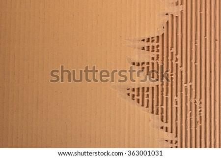 Peeled Corrugated Board Showing The Fluted Corrugated Sheet  - stock photo