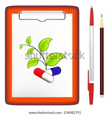 pen, pencil, clipboard, green leaves, pills. jpg version - stock photo