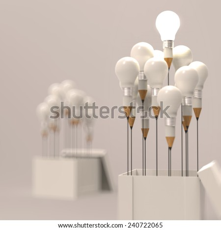 pencil and light bulb concept outside the box as creative and leadership as vintage style - stock photo
