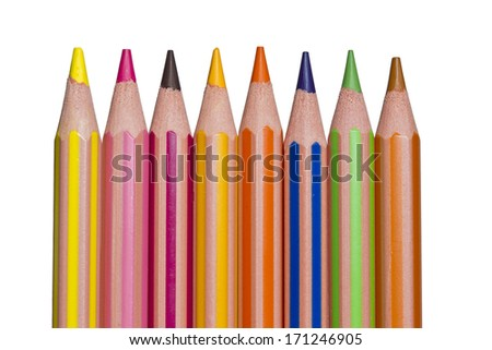 pencil crayons on a white background in a row