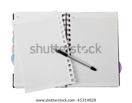 pencil on open white paper note book top view - stock photo