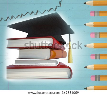 pencils, books and graduation hat, education concept  - stock photo
