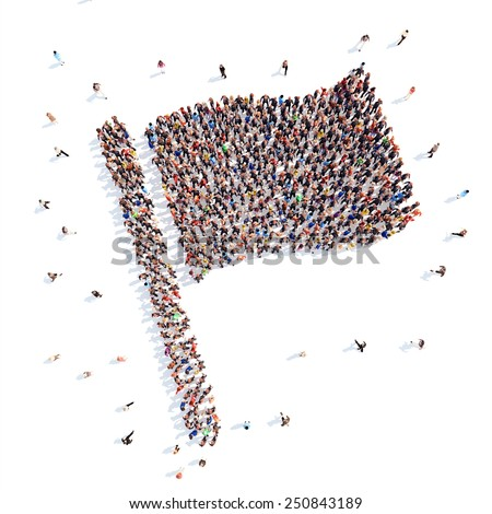 people in the form of a flag. - stock photo